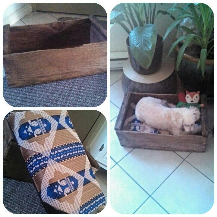 DIY Dog bed from old apple box -	by Angela Hansen