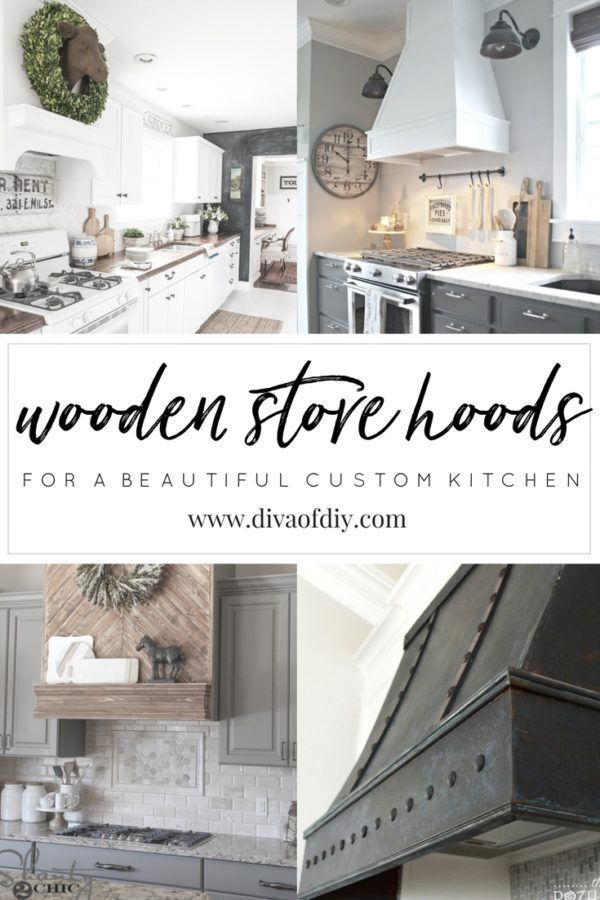 Looking for a custom look in your kitchen? Whether it's painted, rustic, or even faux metal, a stove hood can be the statement piece in your kitchen remodel. http://divaofdiy.com/wooden-stove-hoods/?utm_campaign=coschedule&utm_source=pinterest&utm_medium=Diva%20of%20DIY%20%7C%20Tutorials%20For%20Your%20Favorite%20DIY%20Projects&utm_content=Wooden%20Stove%20Hoods%20for%20a%20Beautiful%20Custom%20Kitchen