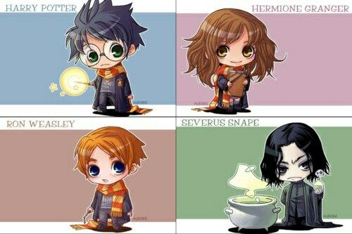 Harry Potter, Hermonie Granger, Ron Weasly and Severus Sanpe