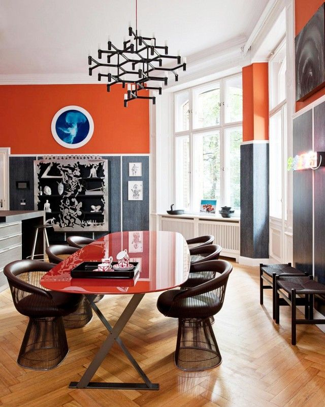 Best COLOR Orange Home Decor Images On Pinterest Living Room - Orange dining room chairs