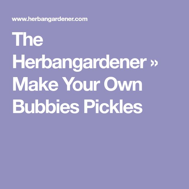 The Herbangardener » Make Your Own Bubbies Pickles