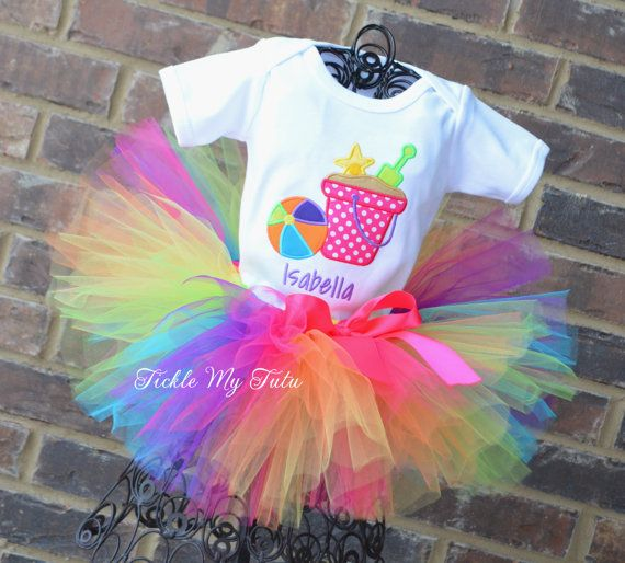 Beach Party Themed Birthday Tutu Outfit by TickleMyTutu on Etsy, $54.95
