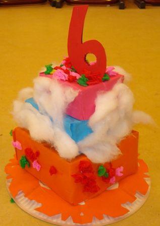 Taart maken! Een taart van een grote hoedenstrook op een bordje..of een taart van kleine doosjes!