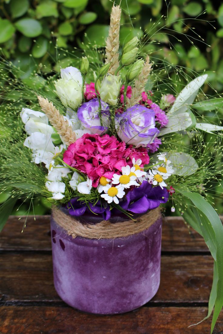 Rustic meadow style flower arrangement...just like picked from the field.