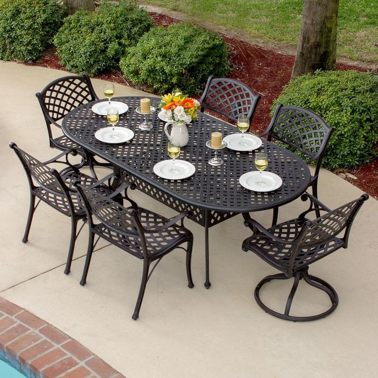 Heritage 7 Piece Cast Aluminum Patio Dining Set With 2 Swivel Rockers And  Oval Table By Lakeview Outdoor Designs Part 85