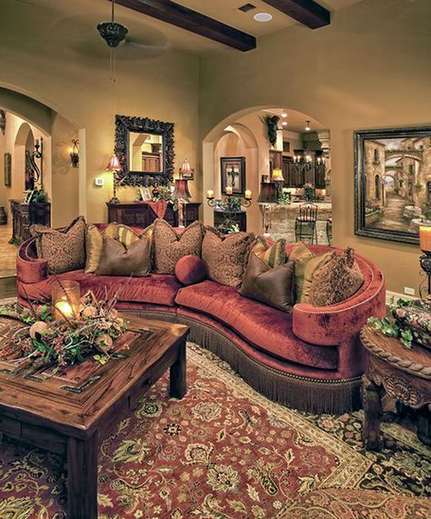 Interior Design Furnishings For Old World Style Living Room In Hill Country Custom Home