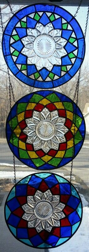 3 stained glass Federal depression era plate panels