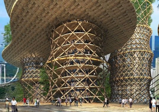 CRG Architects' unique bamboo skyscraper spirals up into the clouds. Bamboo  ArchitectureSustainable ArchitectureBuilding ...