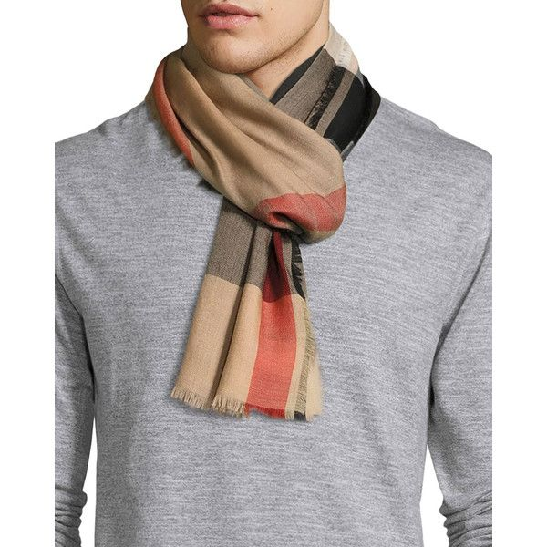Burberry Ombre Mega Check Cashmere Scarf (44.790 RUB) ❤ liked on Polyvore featuring men's fashion, men's accessories, men's scarves, men's accessories scarves, multi, burberry mens scarves, mens cashmere scarves and mens scarves