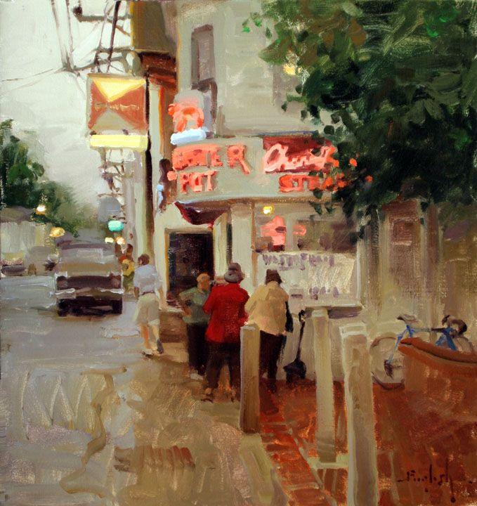 """I love non-traditional """"plein air"""" paintings like this street scene."""