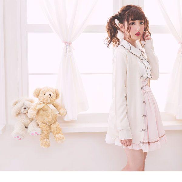 [選べる丈プチリボンカーデ](M ショートホワイト): カーディガン・ベスト| かわいいプチプラファッション通販なら夢展望【公式サイト】