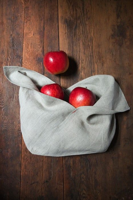 natural linen origami bags