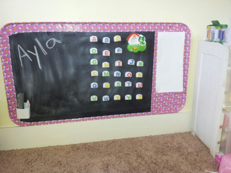 Diy Chalk Magnet Board For Toddler Room Uses Oil Drip