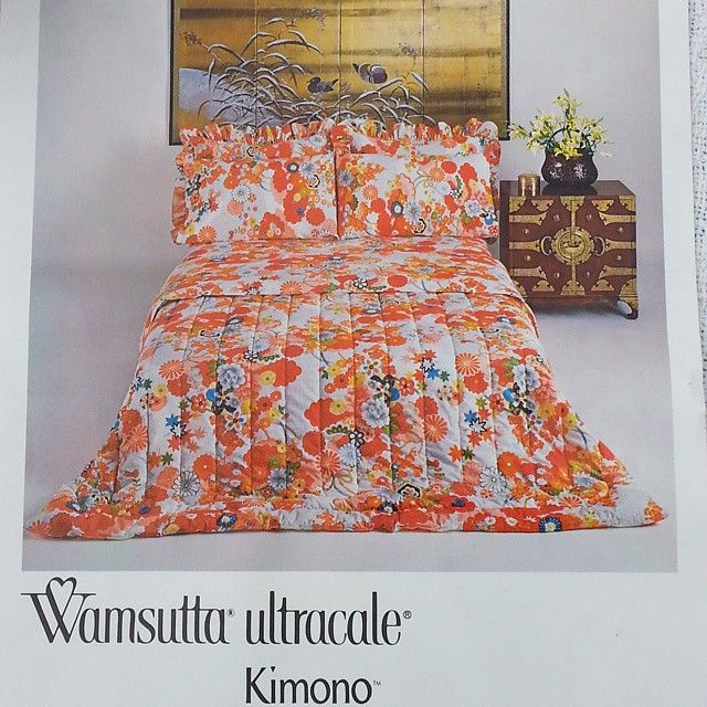 Offering a vintage bedding set by Wamsutta Ultracale in the Kimono pattern. Included are a quilted comforter, fitted sheet, flat sheet, standard pillow case, and pillow sham in an Asian inspired floral pattern. #buynow at #inselly for $100