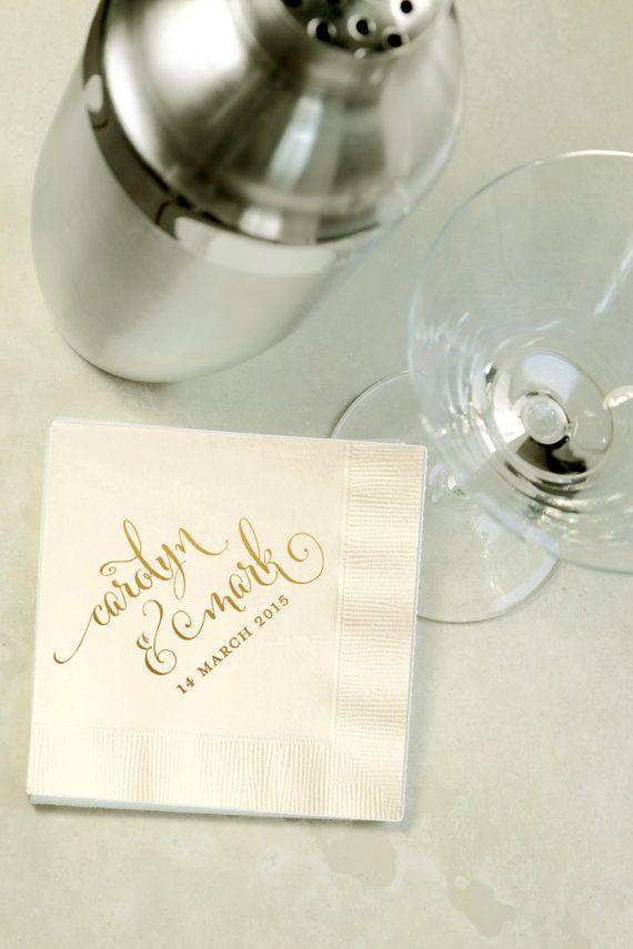 Custom Gold Foil Cocktail Napkins - Wedding Reception, Event, Shower - Choose Your Color, Beverage, Drink Size