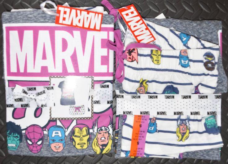 PRIMARK MARVEL COMICS PJ Set T Shirt & Shorts PYJAMAS UK Sizes 6-20 NEW
