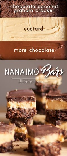 Nanaimo bars are a Canadian treat made of layers of chocolate graham cracker and coconut crust, custard, and chocolate. An explosion of sweetness and the best dessert ever!