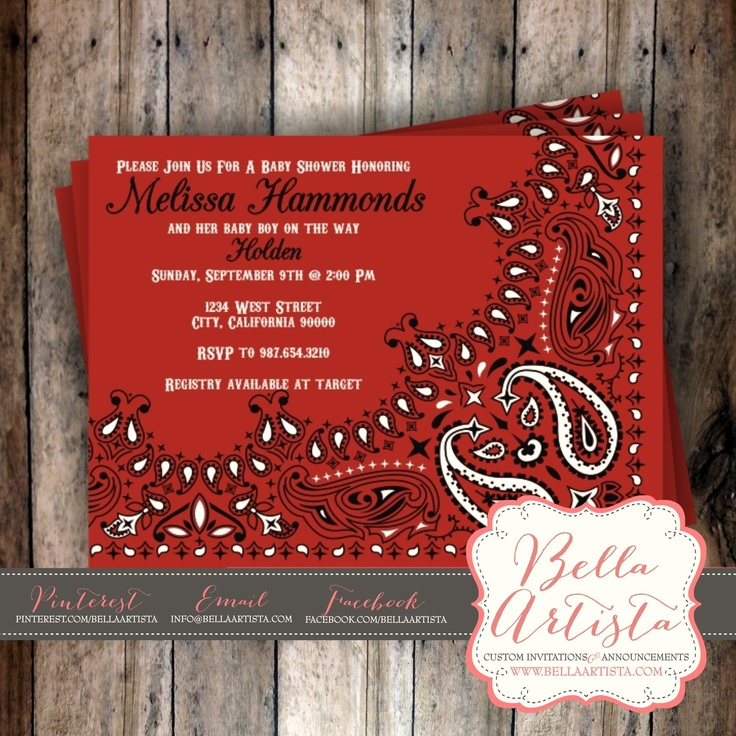 wording0th birthday party invitation%0A Western Bandana BBQ Invitation for Baby Shower  Birthday Party or Save the  Date  www