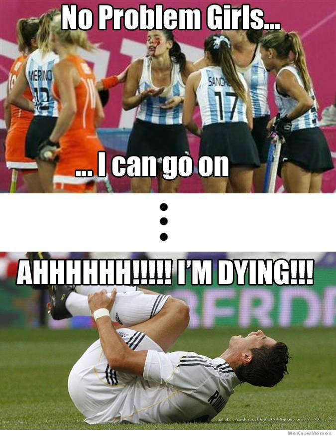 men-vs-women-athletes. Amen. How people are on the ground with fake pain and keep playing with real pain