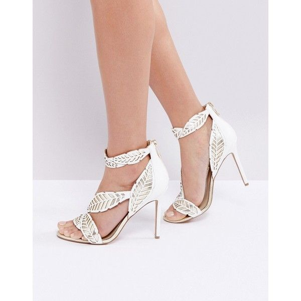Forever Unique Leaf Wrap Heeled Sandal (118 CAD) ❤ liked on Polyvore featuring shoes, sandals, cream, metallic sandals, strappy high heel sandals, embellished sandals, heeled sandals and metallic heeled sandals