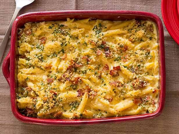 """Guy calls this his """"Mac Daddy"""" macaroni and cheese, and since it's loaded with two kinds of cheeses, crispy bacon and buttery breadcrumbs, it's surely a fitting name for the dish. #RecipeOfTheDay"""