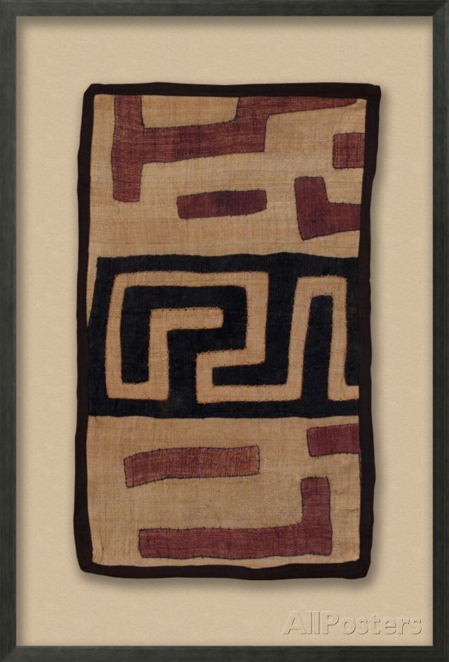 Lunda Kuba Cloth, natural background with brown/rust/or orange applique Dimensional