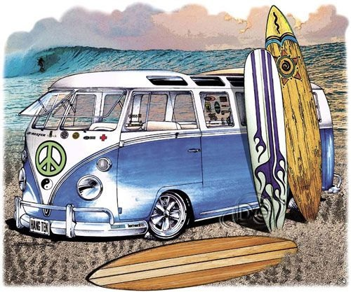 Hippy German Blue Bus Going Surfing TShirt by firelandsteeshirts,