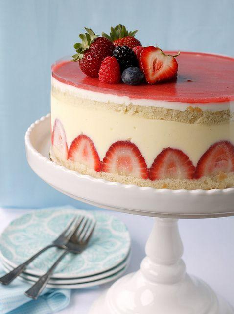 Pastry cream and fresh strawberries layered between chiffon-style vanilla cake.... mmmm