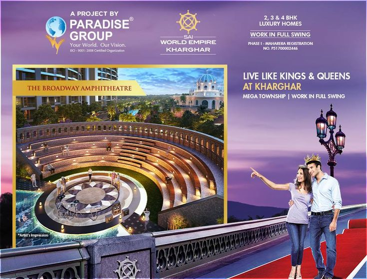 """Live Like Kings & Queens At Kharghar""  Sai World Empire - 2, 3 & 4 BHK Luxury Homes  G+38 Storeys Mega Township Work In Full Swing  #Maharera Registration Number for Phase I - P51700002446  http://paradisegroup.co.in/sai-world-empire-overview.html  #ParadiseGroup #SaiWorldEmpire #RealEstate #Kharghar #NaviMumbai #Property #LuxuryHomes #Residential"