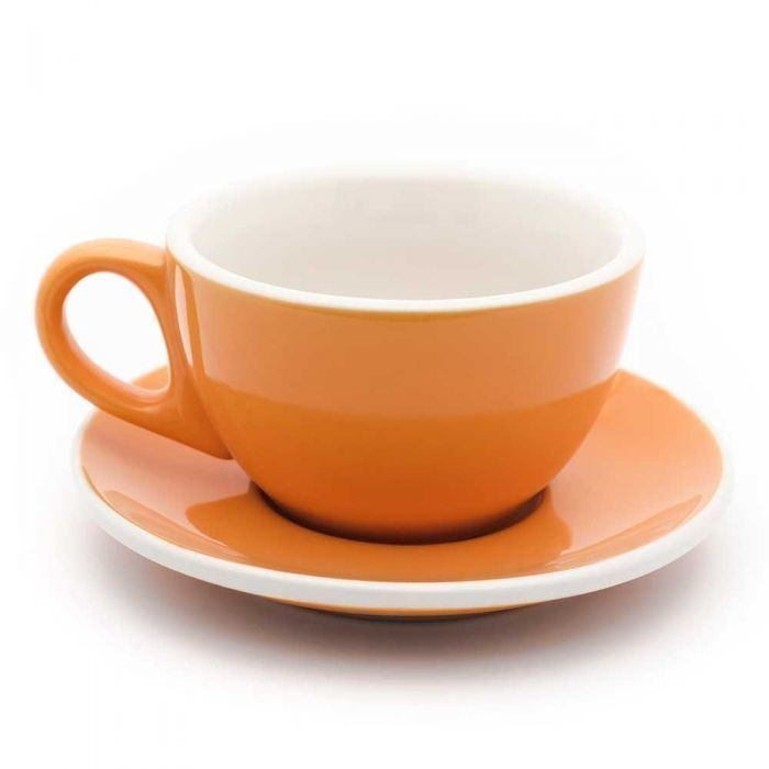 12oz Latte Cups W Saucers Orange And White Cafe Style Set Of 6 Espresso Parts Latte Cups White Cafe Cappuccino Cups