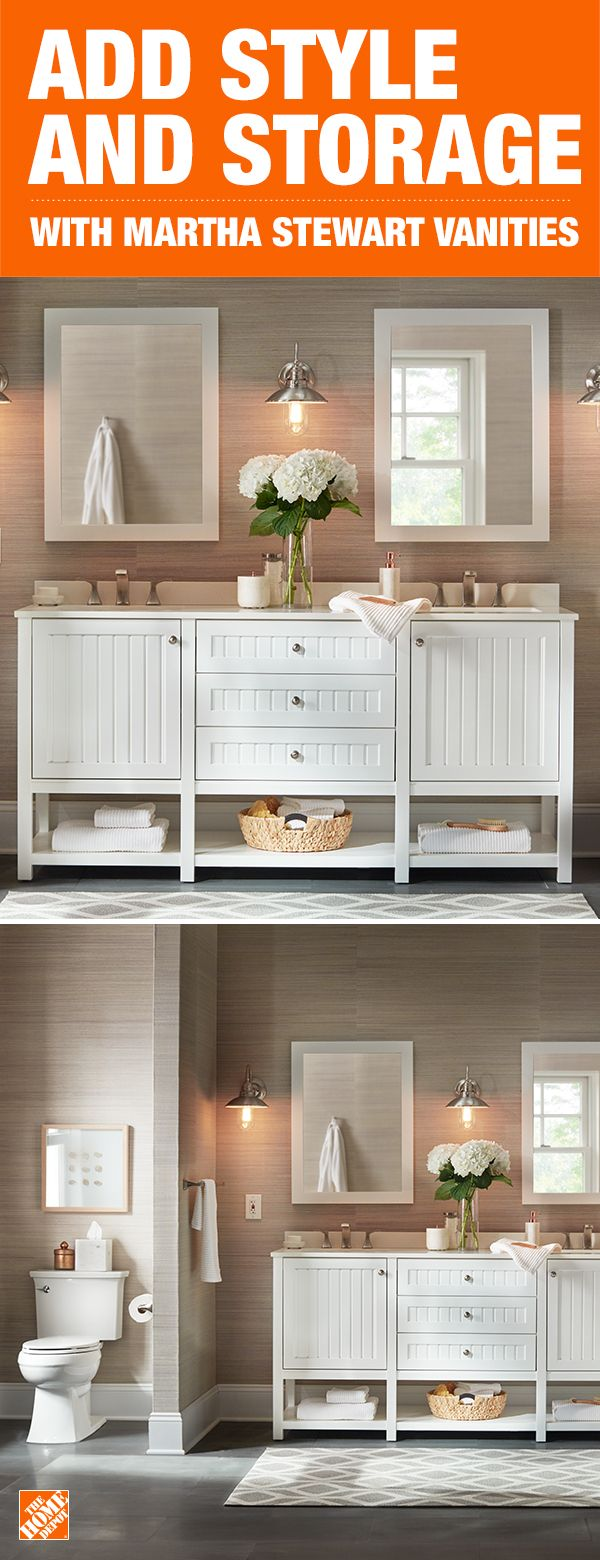 Create a classic, farmhouse inspired bathroom with this standout vanity that includes beautiful beadboard paneling. With plenty of storage and hotel styling, it's sure to up the style factor in any bathroom. Click to shop vanity and faucet options and start designing your perfect bathroom.
