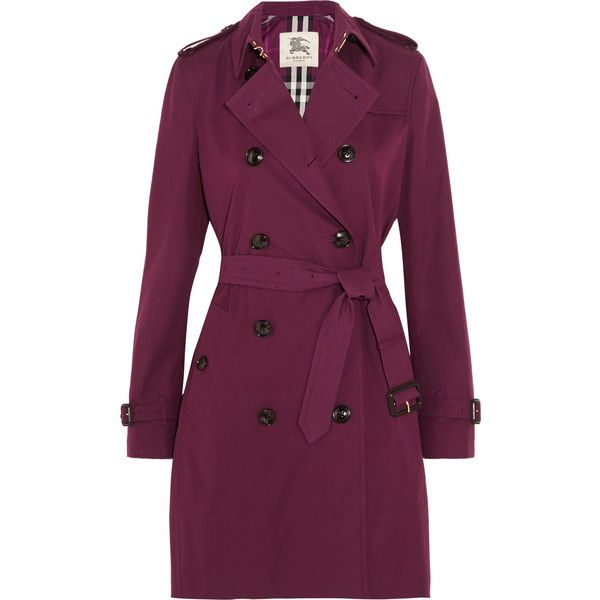 Burberry London Kensington cotton-gabardine trench coat ($1,795) ❤ liked on Polyvore featuring outerwear, coats, plum, cotton coat, checked coat, burberry, purple coat and purple trench coat