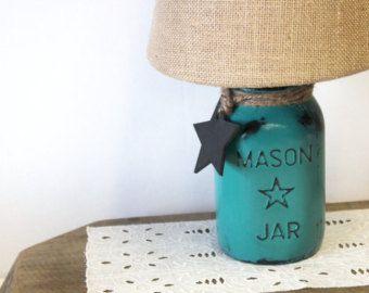 Antique White Half Gallon Mason Jar Lamp by HereOnTheFarm on Etsy