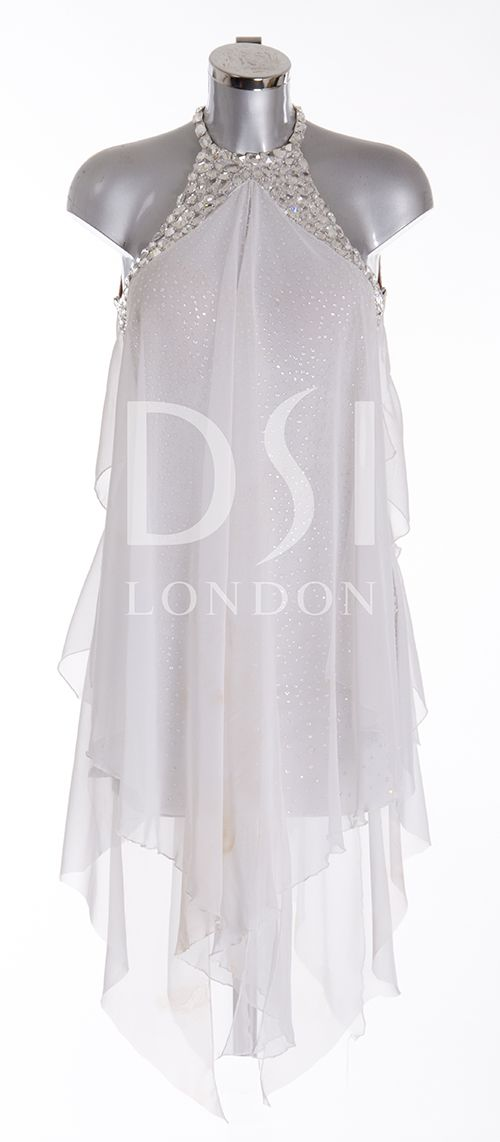 White Latin Dress as worn by Caroline Flack on Strictly Come Dancing 2014. Designed by Vicky Gill and produced by DSI London
