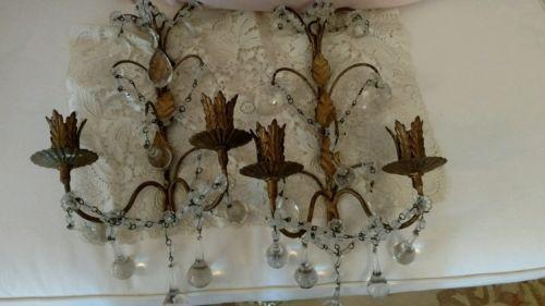 Пара антикварные старинные итальянские макароны из бисера бра свеча лампы кристаллических призм | eBay