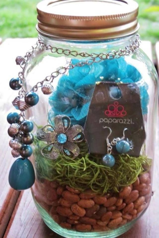 An adorable way to give Paparazzi as a gift.  Put a matching ensemble into a cute glass jar filled with beans, rocks, marbles, grass, etc.