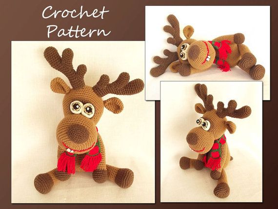 Ciervo amigurumi Crochet Patrón, patrón de los ciervos de ganchillo, ganchillo Animal patrón, renos, ciervos de la Navidad