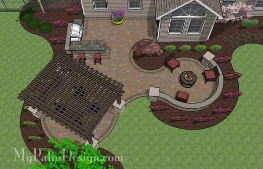 Definitely love this layout, with a cabana on the left and additional seating on the right. Would be a perfect opening to the pool. Minus the extra curve where those pink flowers are