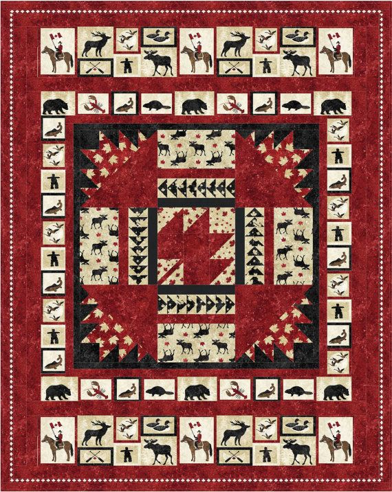 Pattern (Hard Copy) to Make Oh Canada Quilt 60 x 76 Using Stonehenge Fabric by Northcott