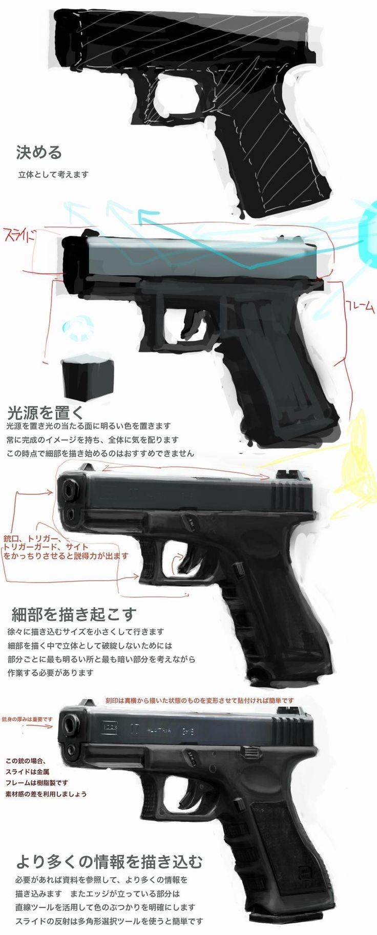 銃の描き方 : rossa mouna