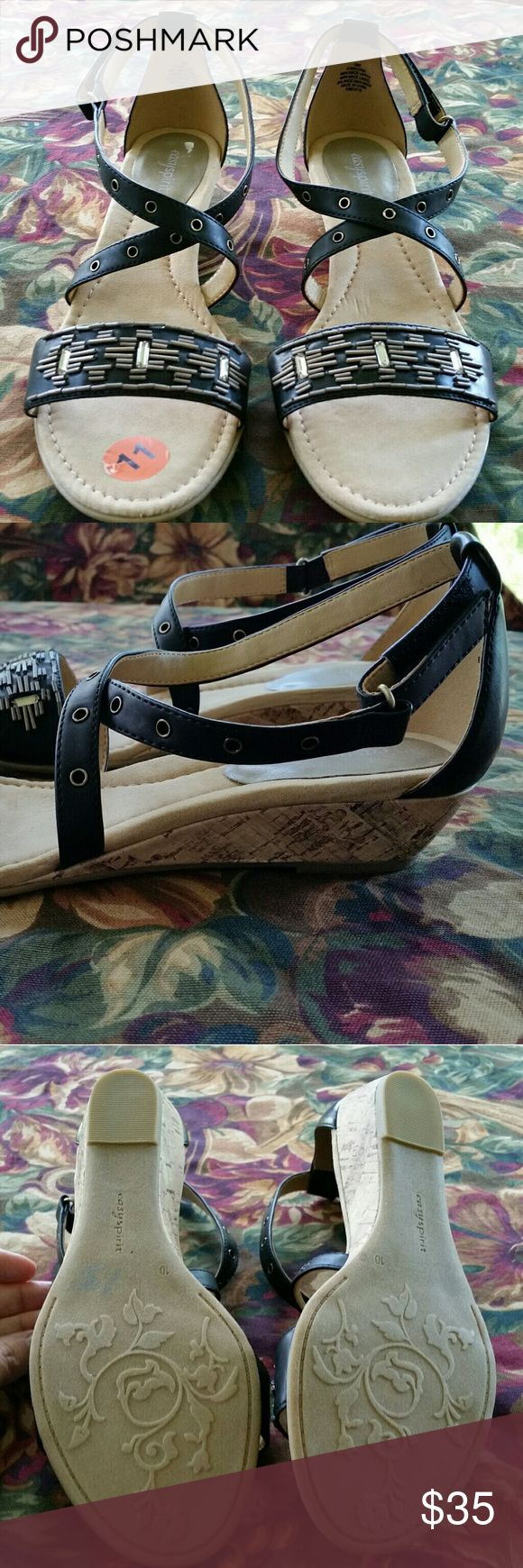 Easy Spirit Wedge Sandals Size 10 - NWOT Brand new Easy Spirit black leather cork wedge sandals. Very nice crystal beading across toe strap. Low cork wedge heel with easy velcro strap closure. Size 10 womens.    Super cute and perfect for summer! Easy Spirit Shoes Sandals