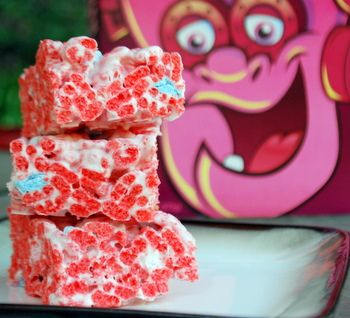 Frankenberry Cereal Bars  - I actually have an un-opened box of frankenberry I'm dying to use to make these