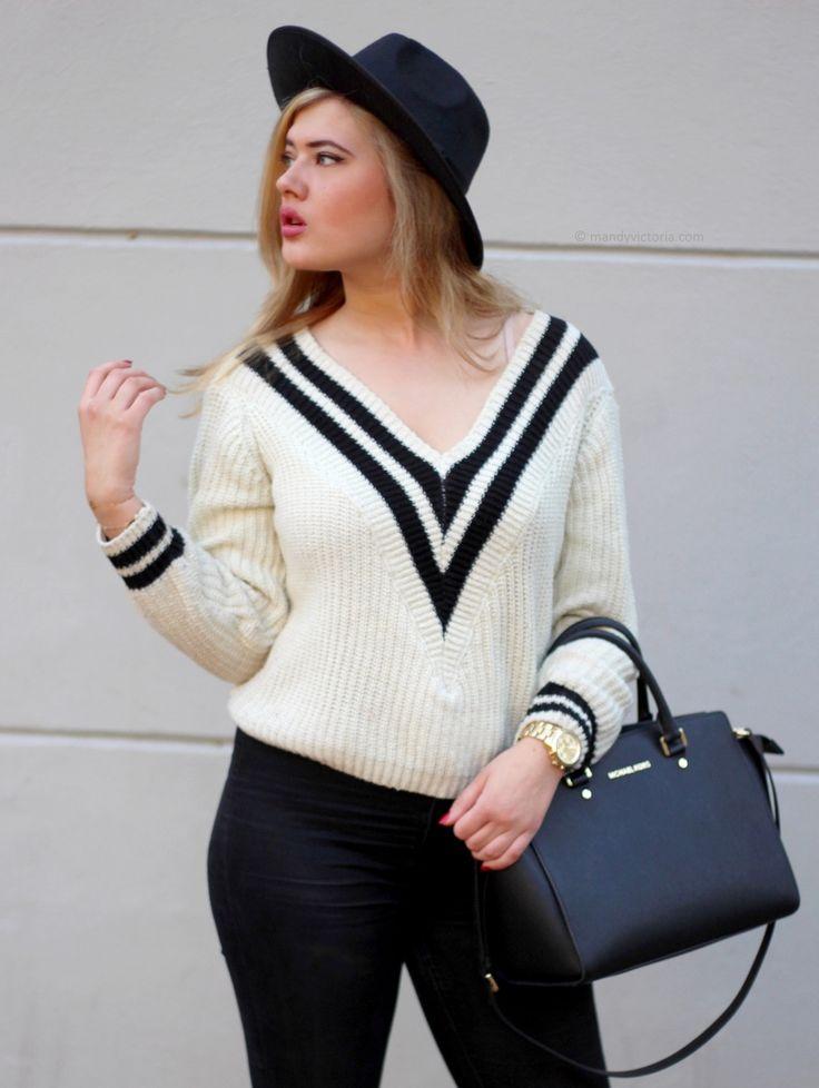 V neck sweater outfit, V neck shirt outfit, Michael Kors Selma bag (mandy victoria / mandyvictoria.com)