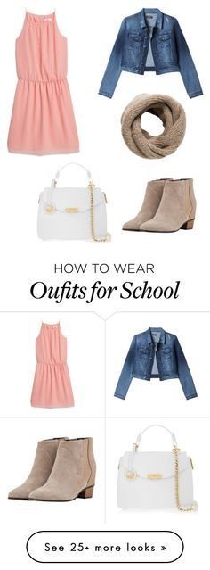 """McKenna back to school outfit"" by ssarbearxo on Polyvore featuring MANGO, Bebe, Augusta and Versace"