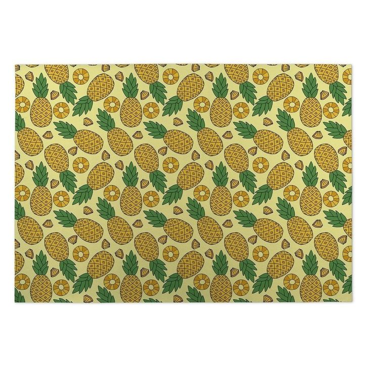 Kavka Designs Yellow/Green Pineapple Indoor/ Outdoor Floor Mat (5' x 7') (Yellow - Novelty - Floral), Size 5' x 7'