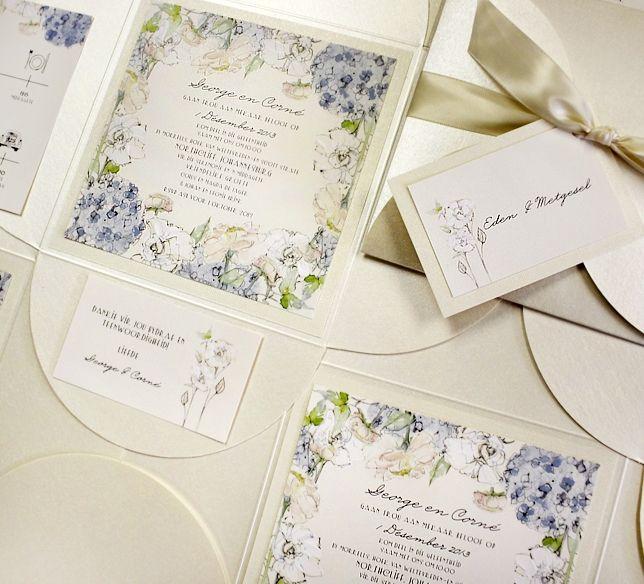 Hydrangeas, peonies, roses and lily of the valley wedding invitations.   #weddingInvitations #watercolorweddinginvitation