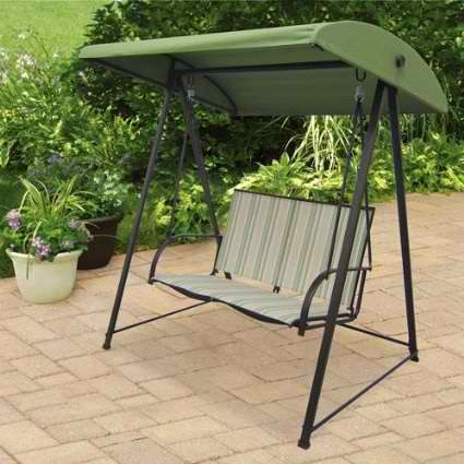 patio swing set furniture canopy stripe bench cushions swings garden natural new - Patio Swing Set