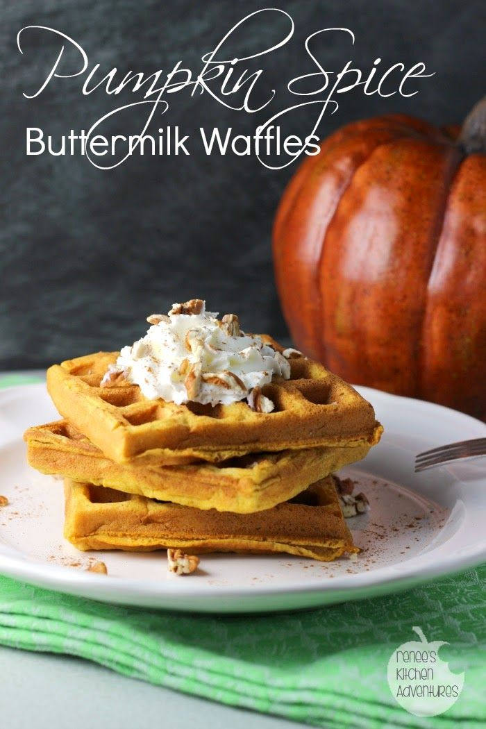 Pumpkin Spice Buttermilk Waffles: a taste of Fall Easy recipe for homemade waffles. Light and fluffy waffles with pumpkin spice flavor. #waffles #buttermilk #pumpkinspice #pumpkin #fall #fallflavors