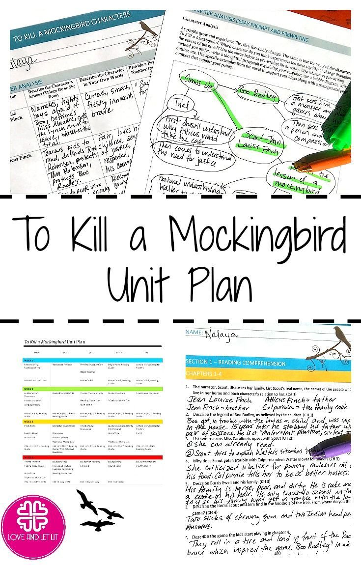 To Kill A Mockingbird Unit Plan With Lessons Quotes A Reading Guide Characters Engaging Activities A High School Literature Teaching Literature Unit Plan