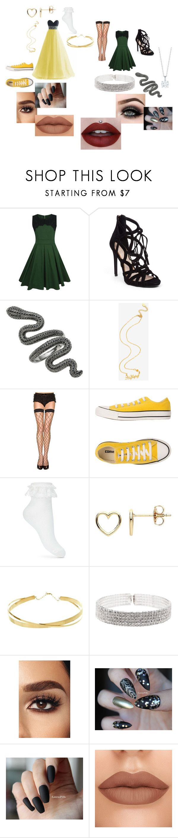 """""""Slytherin or Hufflepuff"""" by shannon-tilley on Polyvore featuring WithChic, Jessica Simpson, Warner Bros., ToBeInStyle, Converse, Miss Selfridge, Estella Bartlett, Lana Jewelry, Natasha and ASAP"""